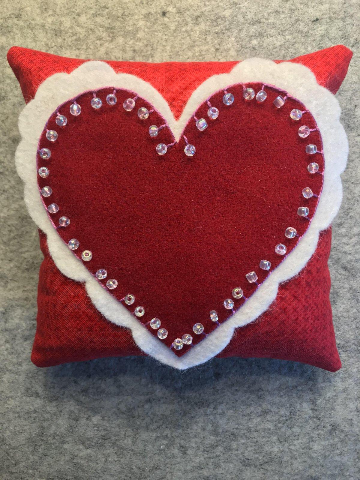 February Pincushion of the Month:  Heart Wool Pincushion