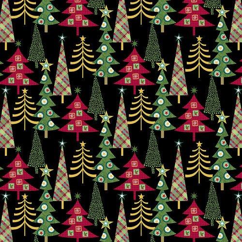 Holly Jolly Christmas Black Trees
