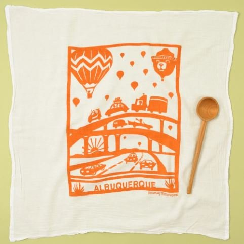 Flour Sack Dish Towel: Hot Air Balloon, Orange
