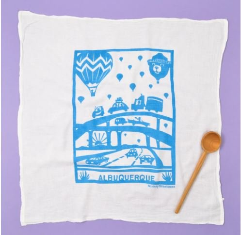 Flour Sack Dish Towel: Hot Air Balloon, Turquoise