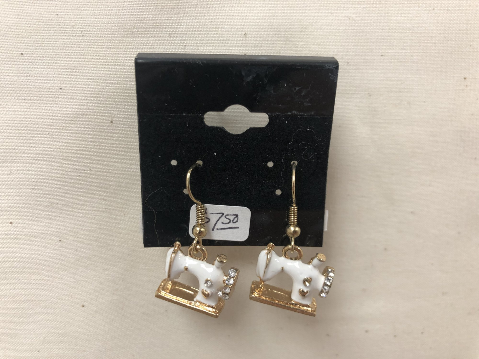 Sewing Machine Earrings (with gems)