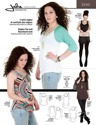 Jalie Raglan Shirt and Racer Back Tank Pattern 3245