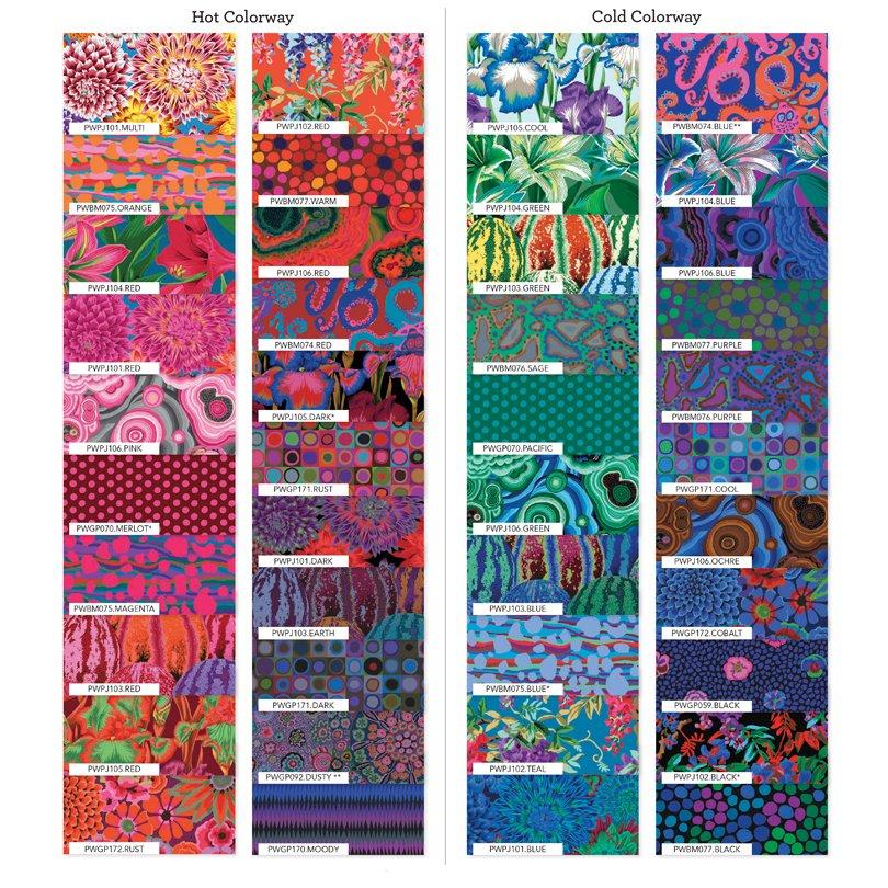 Kaffe Fassett Collective 2020: 6 Design Strips Hot Colorway