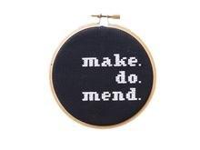 Make, Do, Mend Cross Stitch Kit, Black