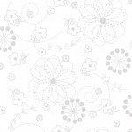 35 Remnant Kimberbell Basics White Doodles Fabric