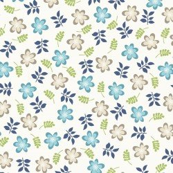 Kimberbell Make Yourself at Home Friendly Flowers Soft White Blue Fabric