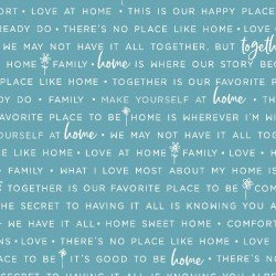 Kimberbell Make Yourself at Home Home Phrases Blue Fabric