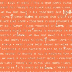 Kimberbell Make Yourself at Home Home Phrases Orange Fabric