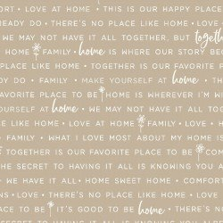 Kimberbell Make Yourself at Home Home Phrases Taupe Fabric