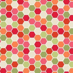Kimberbell Make Yourself at Home Mini Hexagons Red Green Fabric