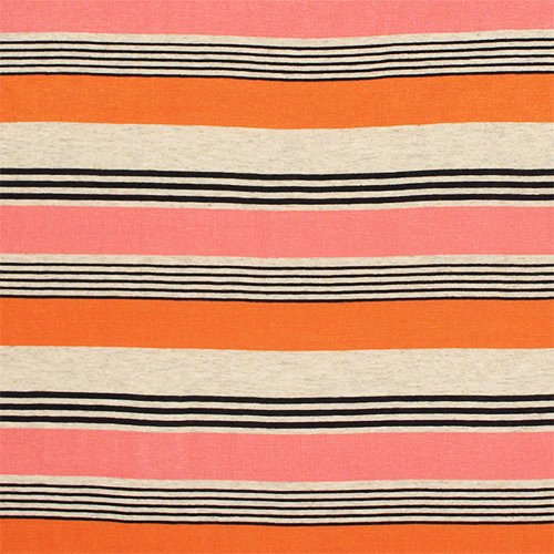 Maya Stripe Azulon Coral Cotton Jersey Blend Knit Fabric