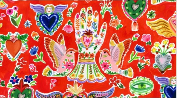 Viva Mexico Milagros Red Fabric