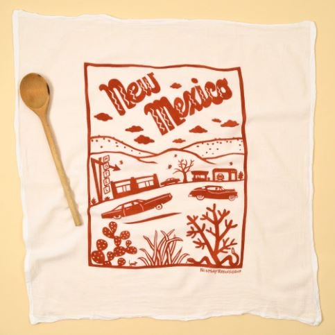 Flour Sack Dish Towel: New Mexico Rust