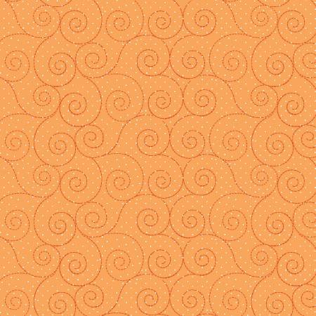 7/8 Yd. Remnant Kimberbell Basics Orange Scroll Fabric