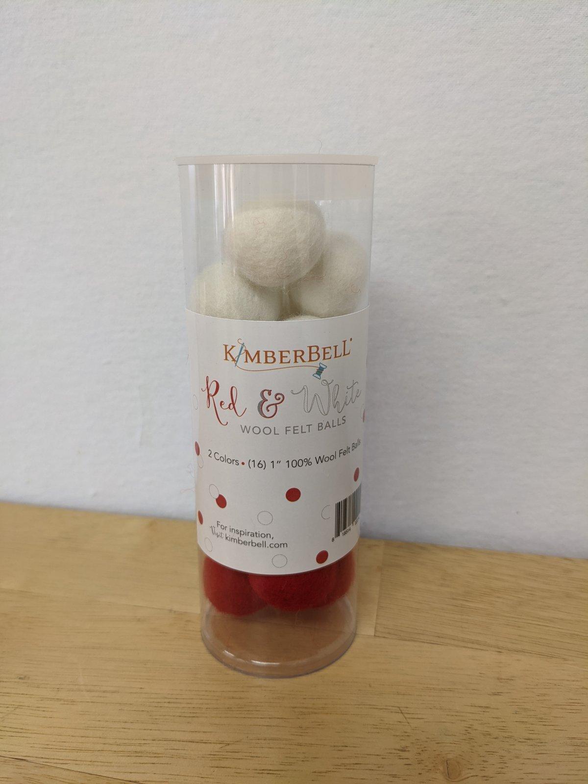 Kimberbell Red & White Wool Felt Balls
