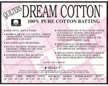 Quilters Dream Natural Cotton Select 93 wide batting by the yard
