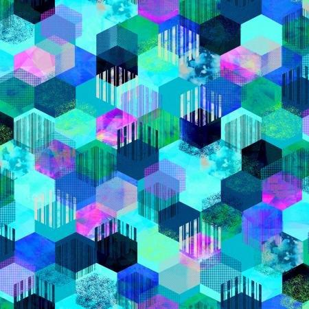 Geometry Hexagon Sky Fabric