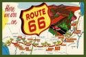 Route 66 Map 1 Fabric Postcard 4x6