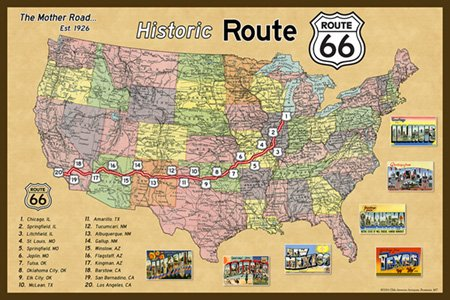 Map Of California Route 66.Route 66 Map 2 Fabric Postcard 4x6