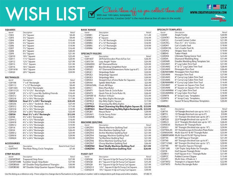 Creative Grids Ruler Wish List