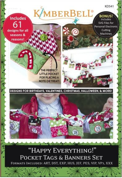 Kimberbell Happy Everything! Pocket Tags & Banners Set Machine Embroidery CD