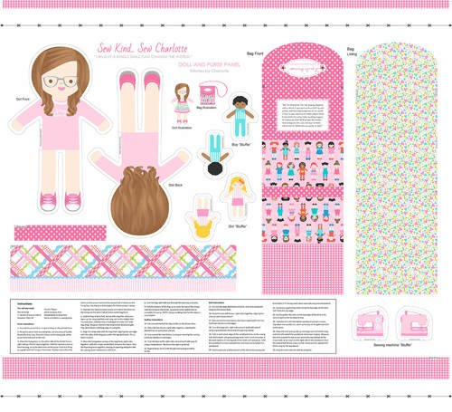 Stitches by Charlotte doll panel