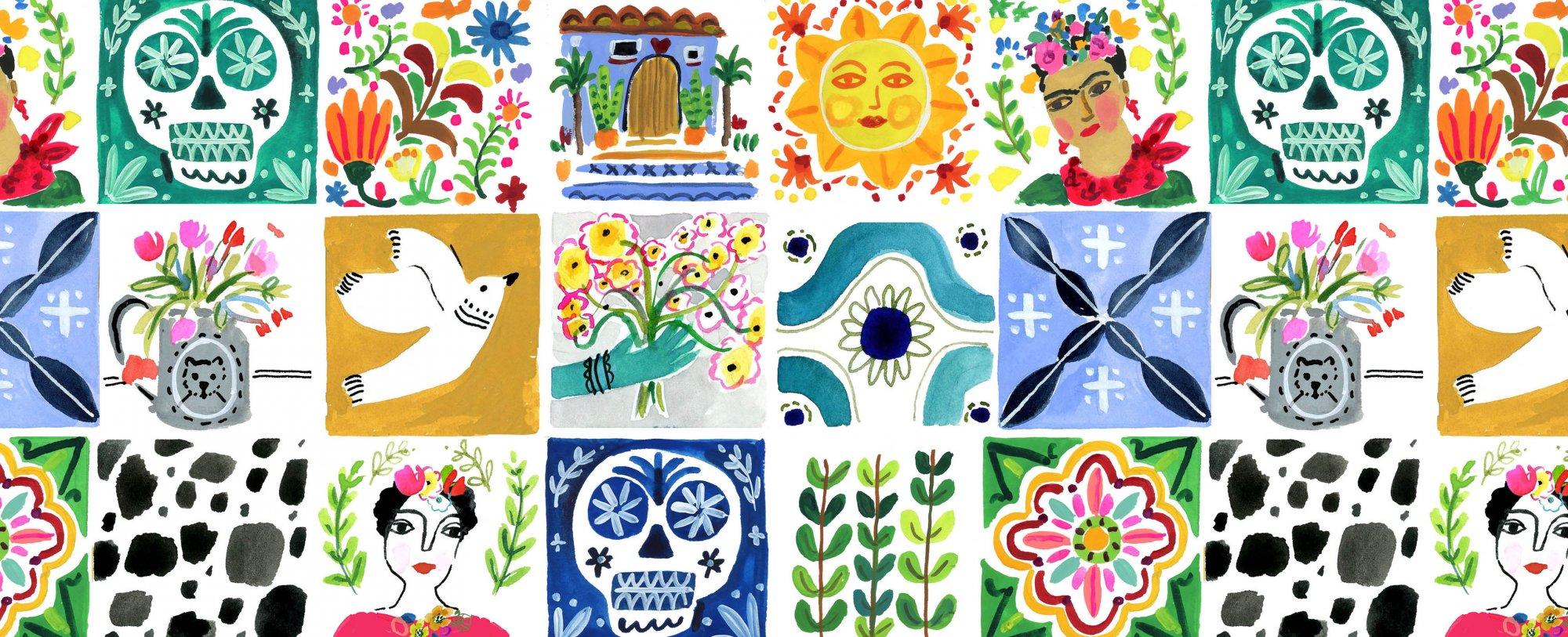 Viva Mexico Tiles White Fabric