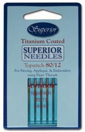 Superior Titanium Coated Topstitch Needles, Size 80/12