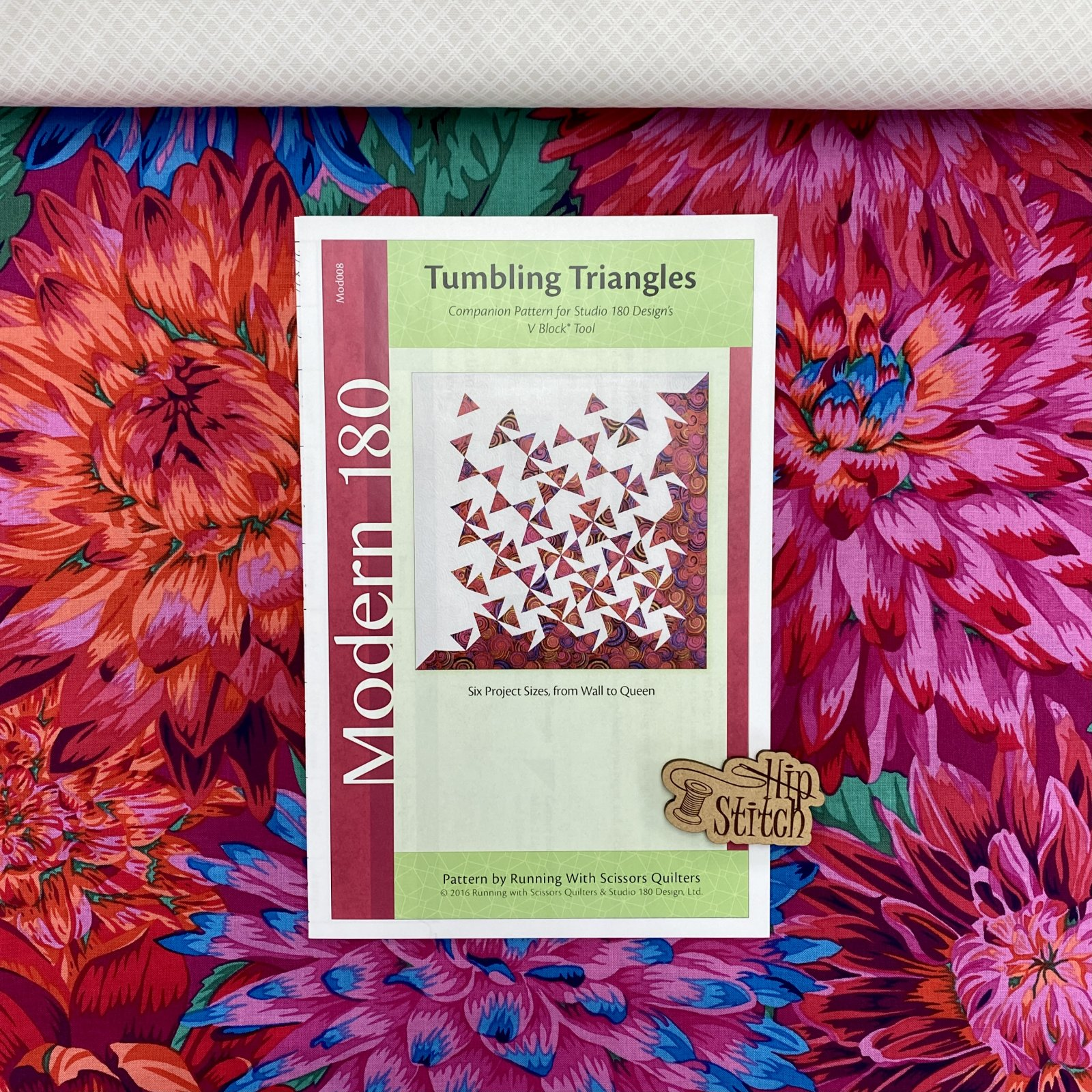 Tumbling Triangles Quilt Kit - Kaffe Red Cactus Dahlias