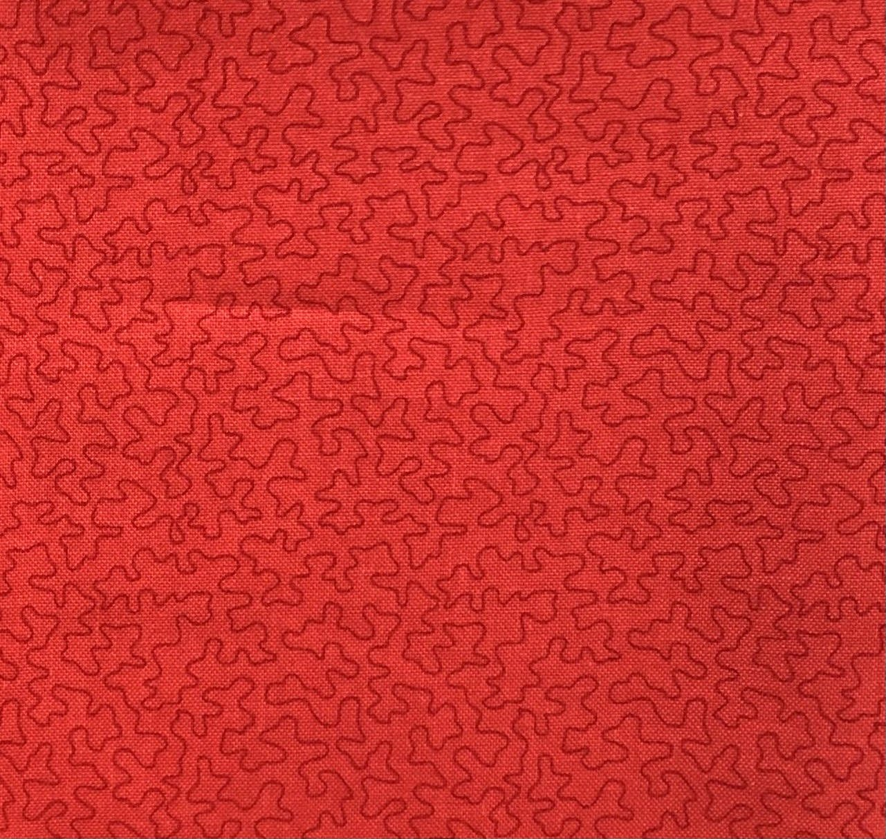 5/8 yd Remnant Bear Essentials 3 Red Puzzle Pieces
