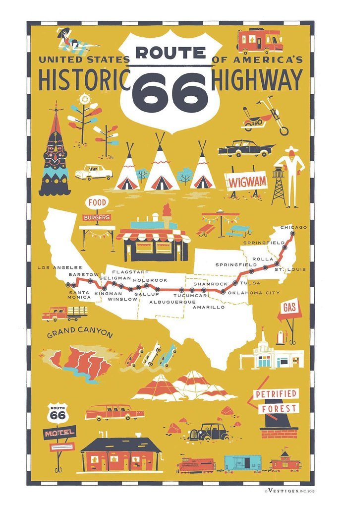 Vestiges Route 66 Region Kitchen Towel 100% Cotton Pique 21.5 x 32