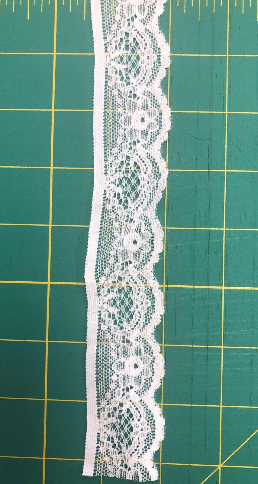 1 3/8 Bright White Stretch Lace Trim