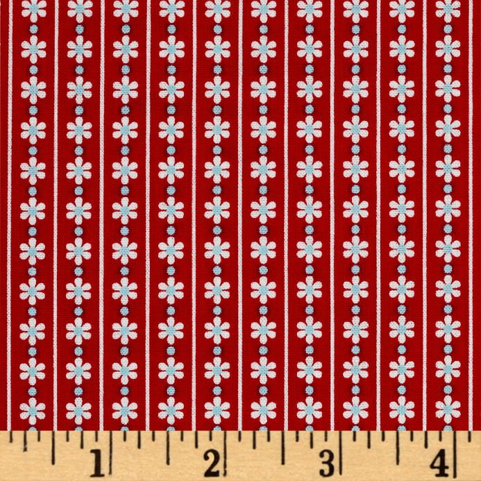 2082 First Blush Red Daisy Stripe