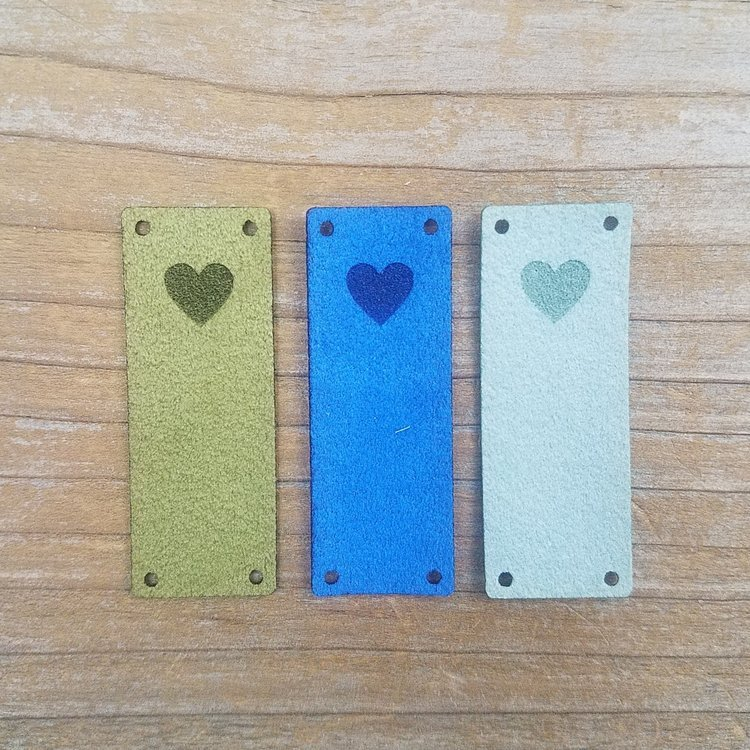 Faux Suede Heart Foldover Tags Blues Set of 6