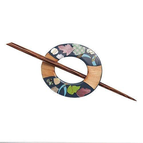 Inlaid Shell/Wood/Stone Shawl Pin