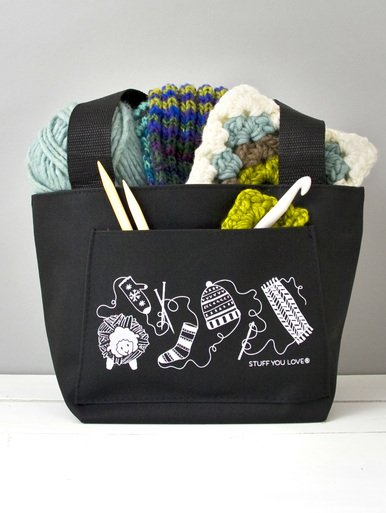 Knit Happy Petite Project Tote Black