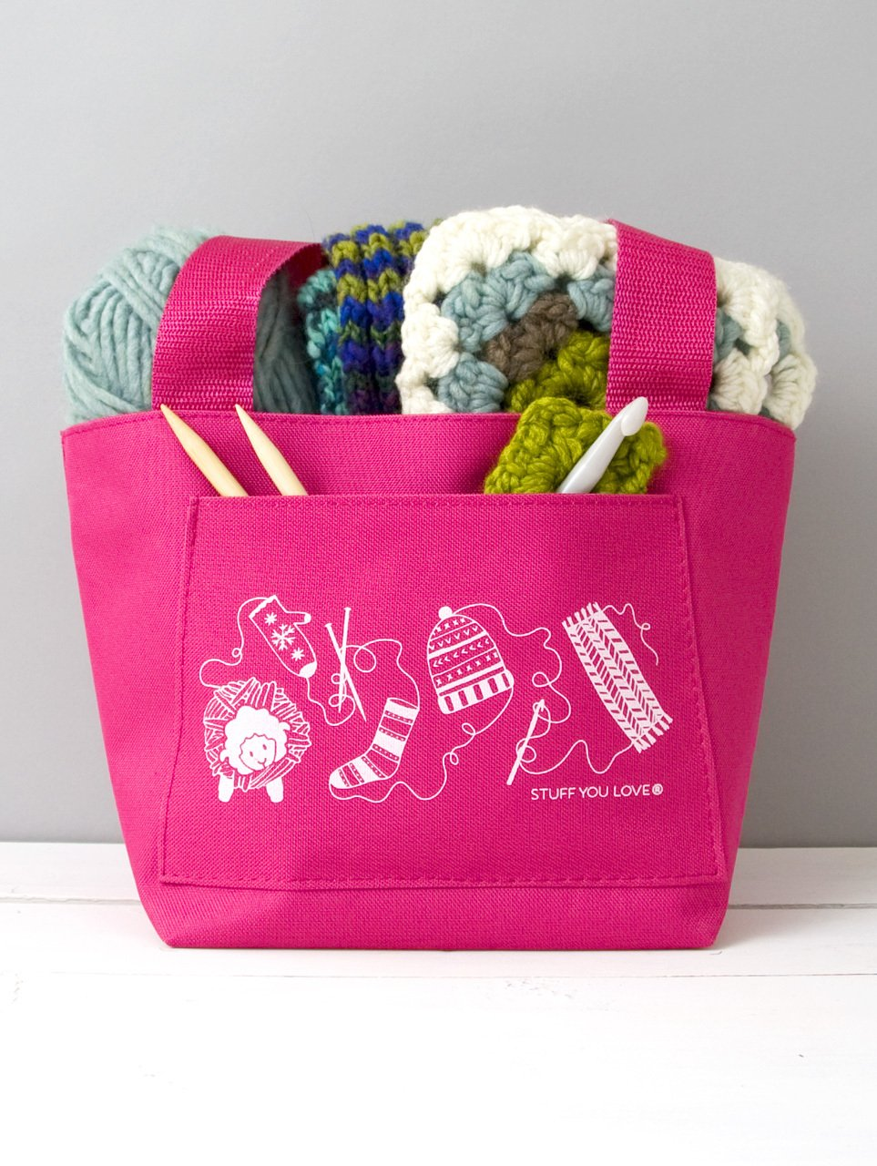 Knit Happy Petite Project Tote Pink