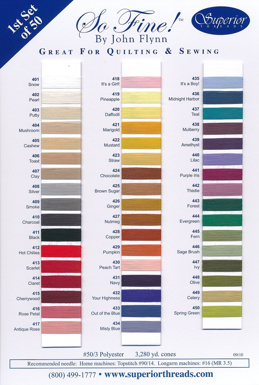 SO FINE #50 Colour Card  Original 50 colours