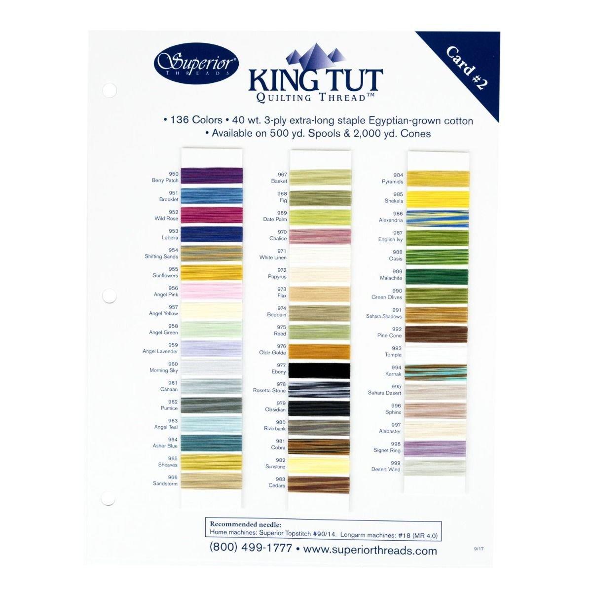 KING TUT Colour Card. SECOND SET of 50 COLOURS
