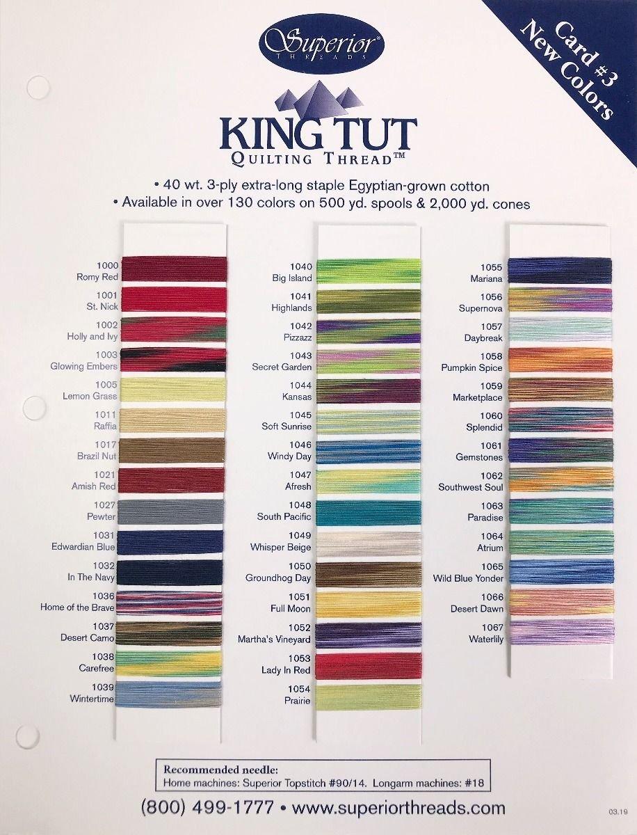 KING TUT Colour Card. THIRD SET of 43 COLOURS