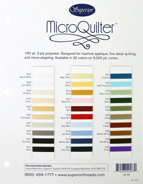 MICROQUILTER Thread Colour Card