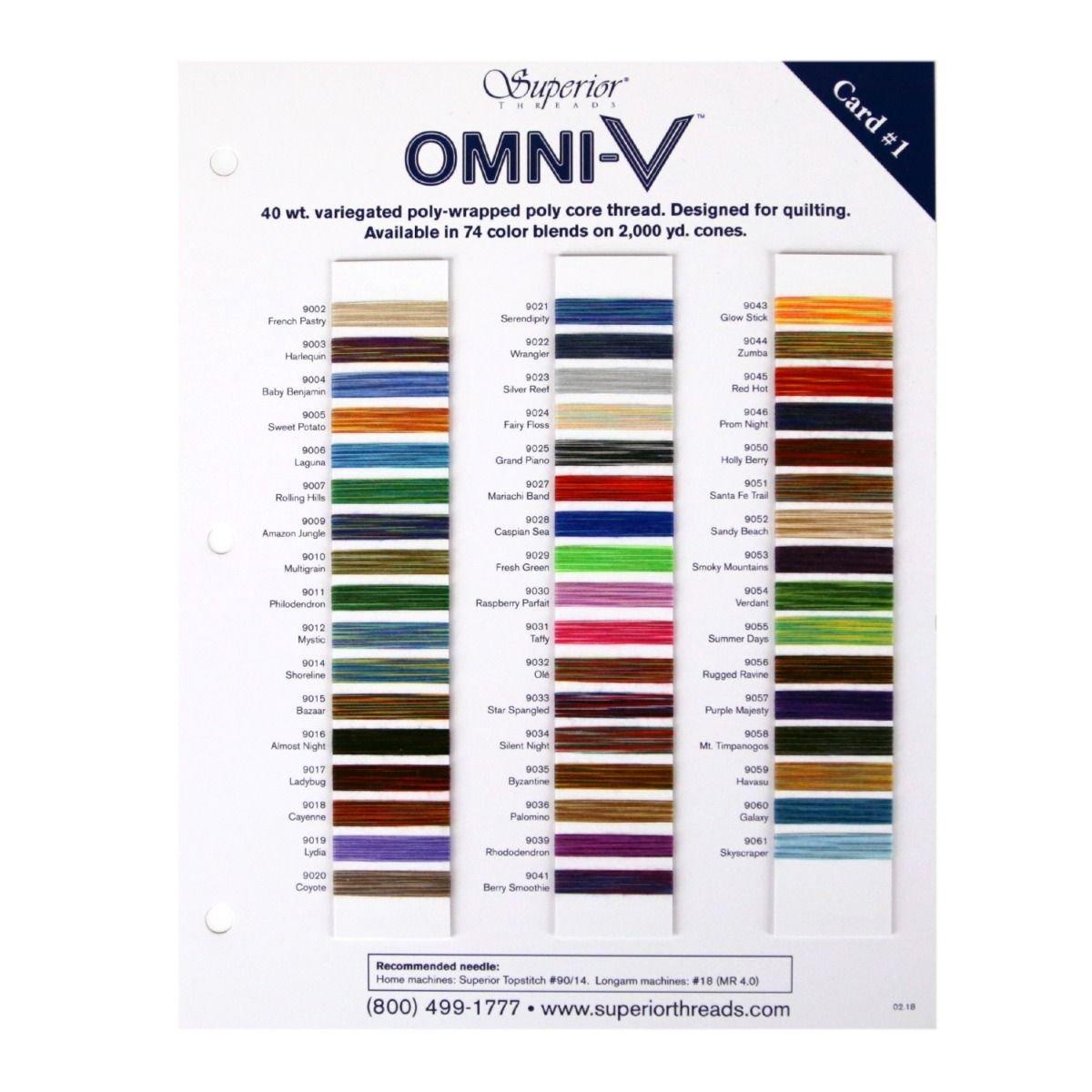 OMNI-V Thread Colour Card #1 of 2