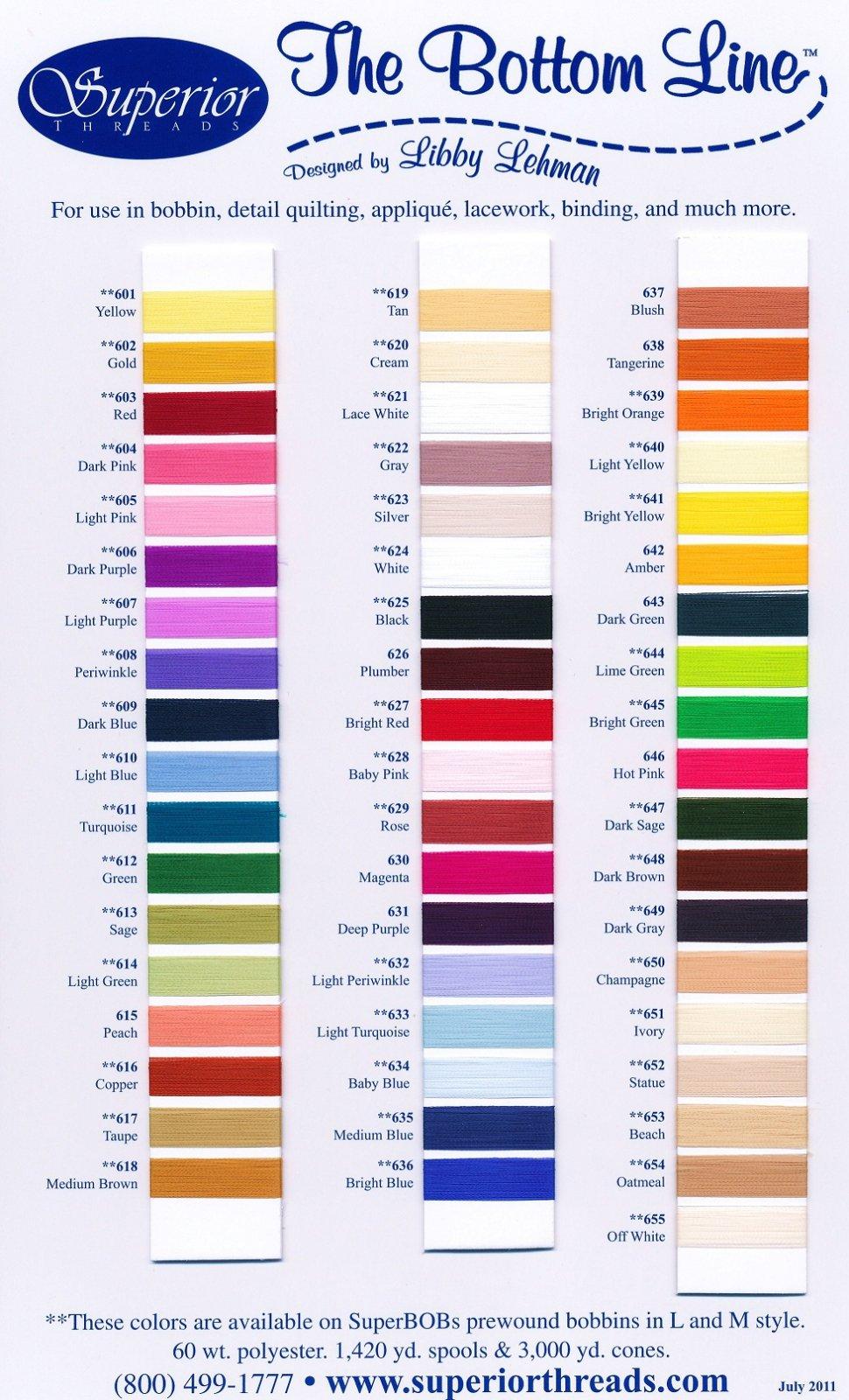 Bottom Line Polyester Thread Colour Card