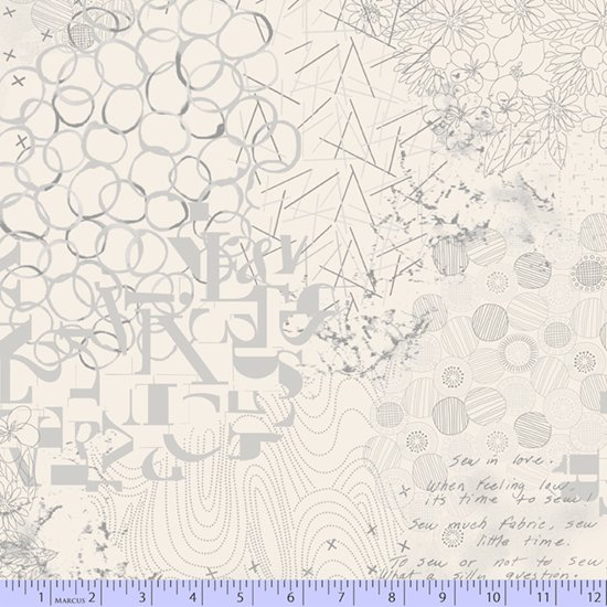 Cream & Gray Floral Geometric 0773-0141 Wide Back 108 in from Marcus Fabrics