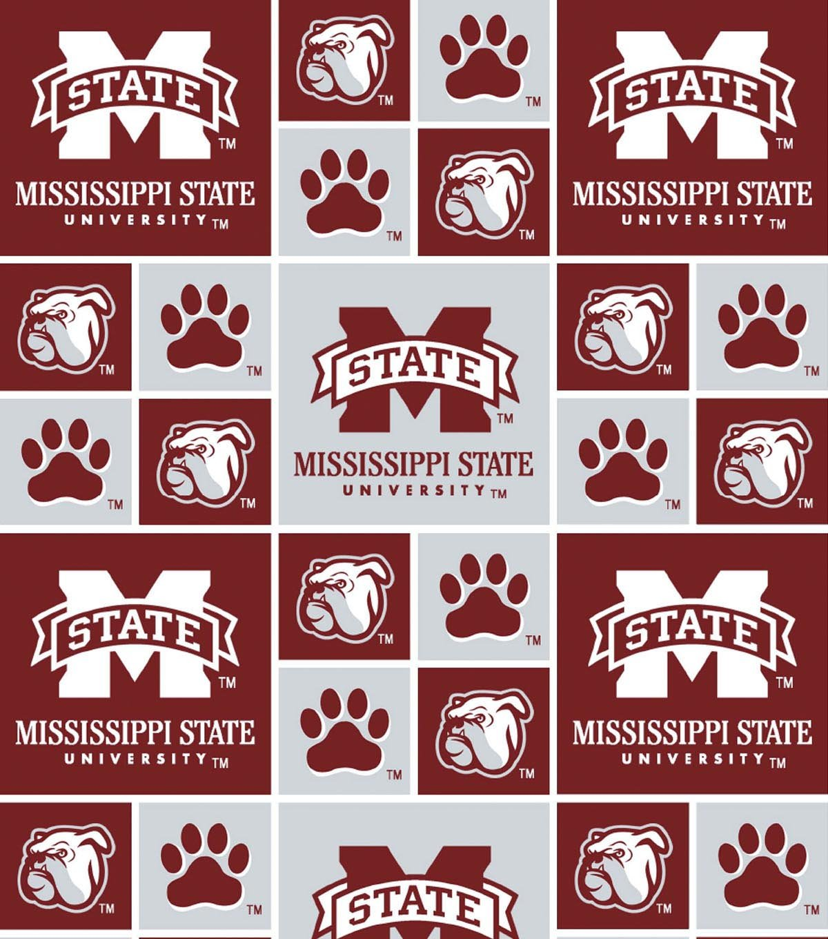 Mississippi State Burgundy/Gray Tiles Cotton Fabric 43/44