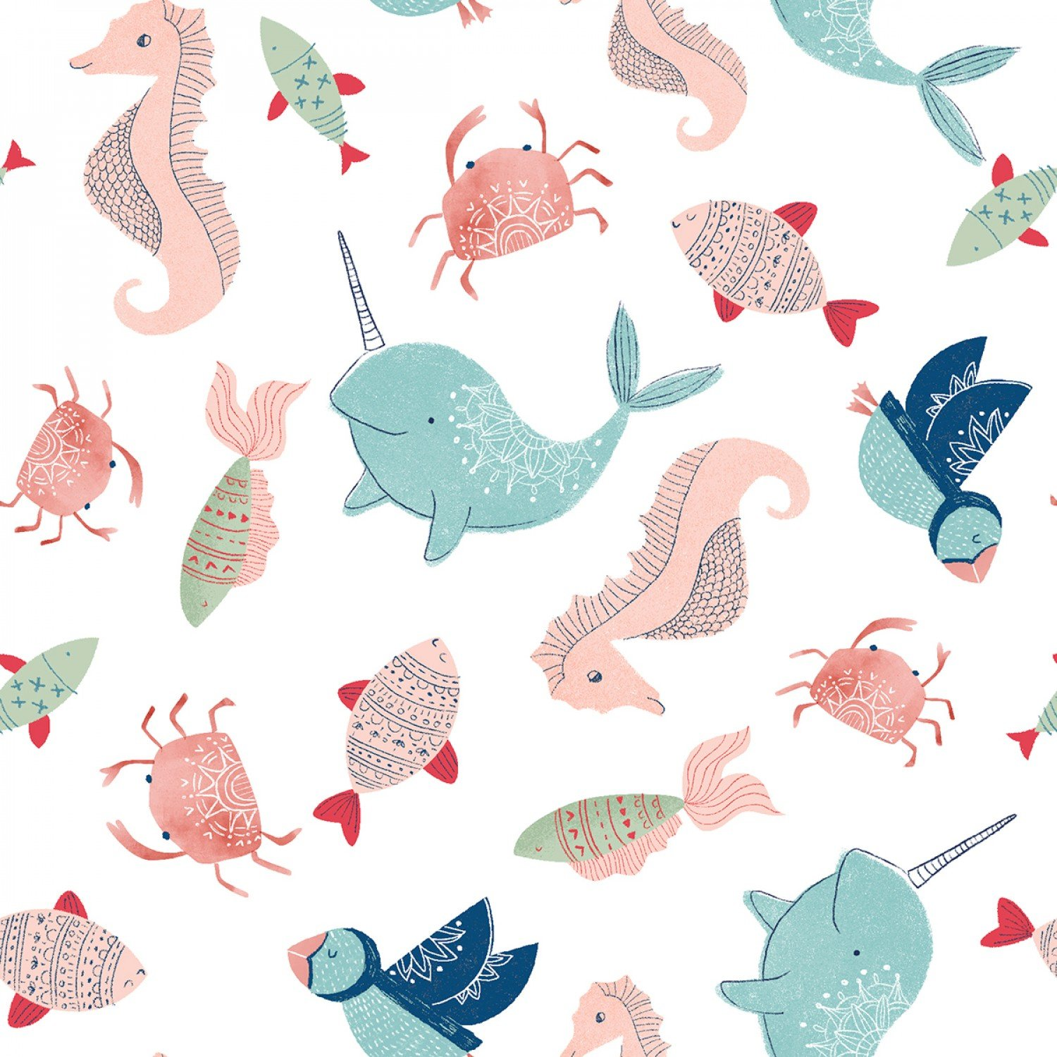 Splish Splash 14643-WHITE Flannel Sea Creatures from 3 Wishes