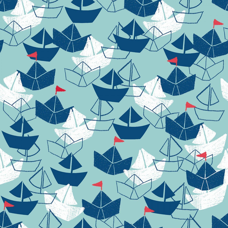 Splish Splash 14644-LTAQUA Flannel Boats from 3 Wishes