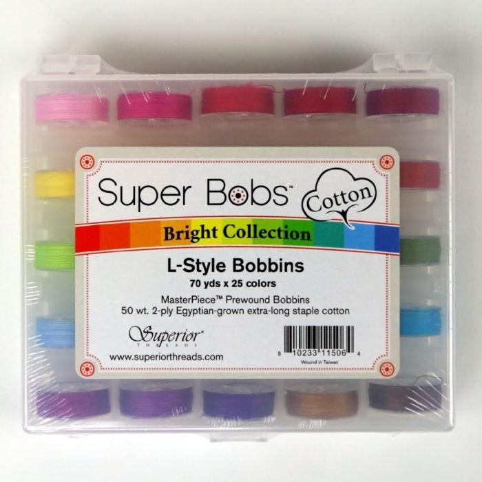 Super Bobs Case Bright MasterPiece Cotton L Style 70 yd Prewound Bobbin 25 Colors