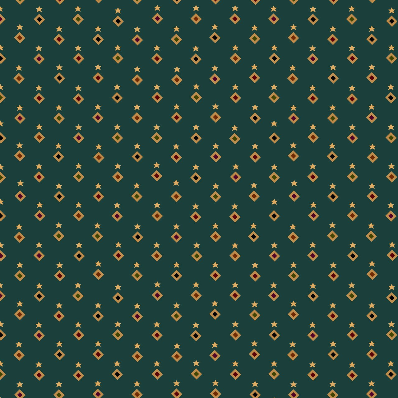 Liberty Star Q-1577-11 Teal Stars & Diamonds by Kim Diehl