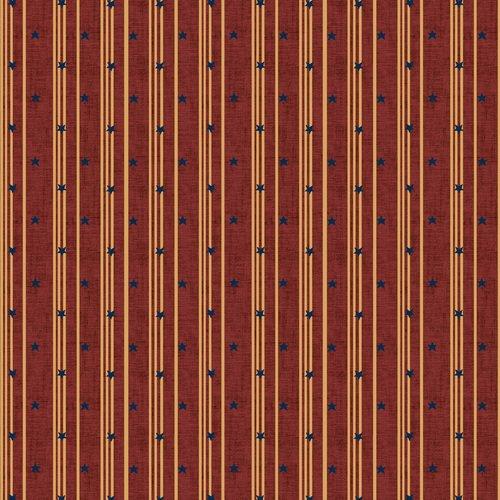 Liberty Star Q-1582-88 Med Red Stars & Ticking Stripe by Kim Diehl